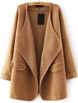 Shein Khaki Lapel Long Sleeve Loose Sweater Coat