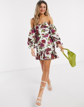 Talulah exclusive envision floral off shoulder mini dress in white bloom