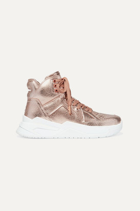 Balmain B Ball Metallic Leather High-top Sneakers - Brass