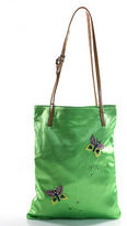 Dolce & Gabbana Green Brown Satin Beaded Butterfly Applique Small Tote Handbag New $220