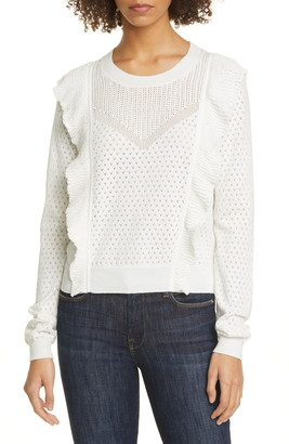Joie Apollonia Ruffle Trim Pointelle Sweater