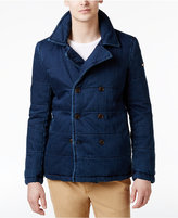 Tommy Hilfiger Men's Quilted Double-Breasted Cotton Denim Coat