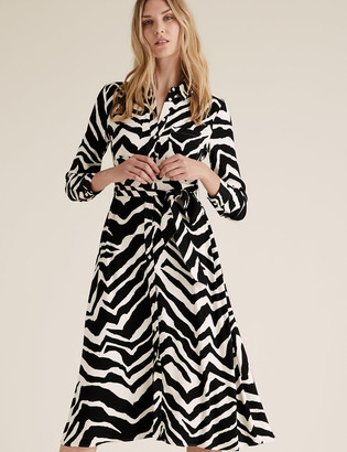 Marks and Spencer Zebra Print Belted Midi Shirt Dress