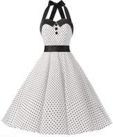 Dressystar Vintage Polka Dot Retro Cocktail Prom Dresses 50's 61's Rockabilly Bandage S