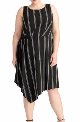 Rachel Roy Womens Black Striped Sleeveless Jewel Neck Midi Shift Dress Size: 22W