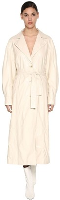 Drome Long Crackled Leather Trench Coat