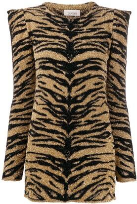 Laneus tiger print shimmer top