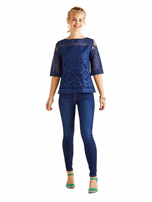 Yumi Navy Floral Lace Top