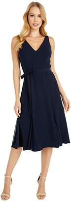 Adrianna Papell Crepe and Chiffon Godet Dress (Blue Moon) Women's Dress