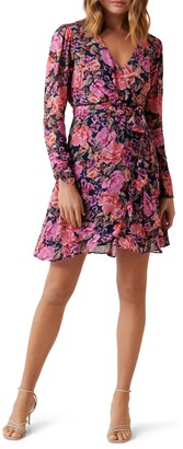 Ever New Larissa Long Sleeve Ruched Wrap Dress