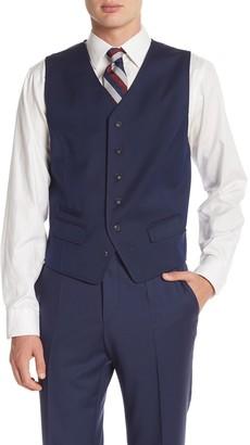 Ben Sherman Blue Birdseye Six Button Suit Separate Vest