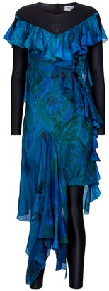 Marine Serre Exclusive to Mytheresa Printed silk and stretch-jersey dress
