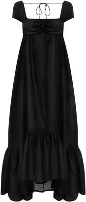 Anna October Yelena Crepe de Chine Maxi Trapeze Dress