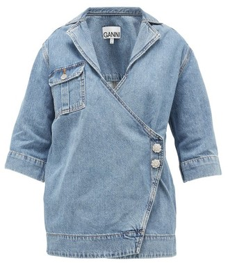 Ganni Crystal-embellished Denim Jacket - Light Denim