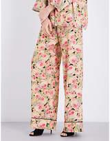 Vilshenko Ladies Printed Floral-Print Silk Trousers