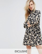 Missguided Floral Print High Neck Dress