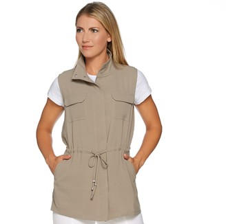 Lisa Rinna Collection Zip Front Utility Vest with Pockets