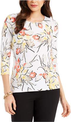 JM Collection Floral-Print Scoop-Neck Jacquard Top