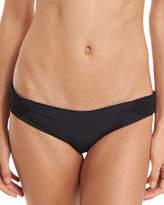 Tori Praver Swimwear Bethany Smocked Solid Swim Bottom, Black