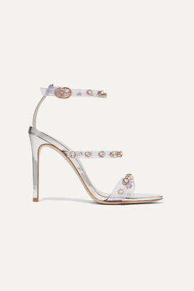Sophia Webster Rosalind Crystal-embellished Pvc And Metallic Leather Sandals - Silver