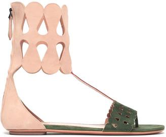 Alaia Laser-cut Color-block Suede Sandals