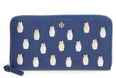 Tory Burch Women's Embossed Leather Zip-Around Wallet - Blue