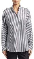Akris Punto Long Sleeve Striped Cold Shoulder Blouse