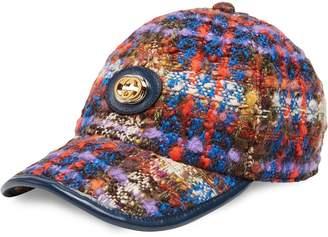 Gucci tweed baseball cap