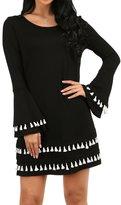 OFEEFAN Lady's Casual T-Shirt Long Sleeve Swing Dress Tunic Top Dresses M