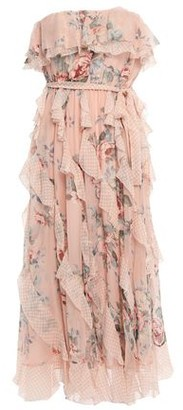 Zimmermann Strapless Printed Silk-georgette Midi Dress