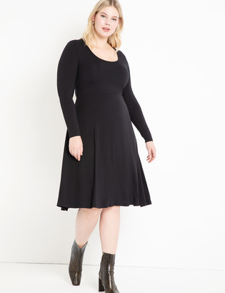 ELOQUII Scoop Neck Fit and Flare Dress