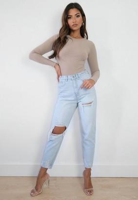 Missguided Light Blue Thigh Slash Open Knee Mom Jeans