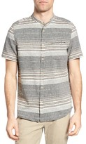 Jeremiah Men's Houghton Stripe Linen Blend Band Collar Shirt