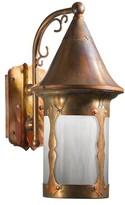 "575 Denim Atalaya 1-Light Outdoor Wall Lantern Loon Peak Finish: Old Penny, Shade Finish: Champagne, Size: 12.5"" H x W x 8"" D"