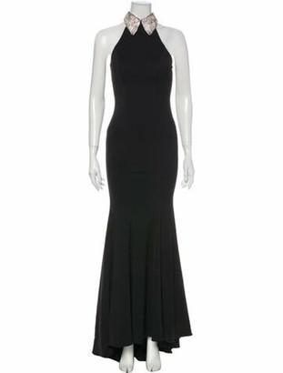 Jovani Halterneck Long Dress Black