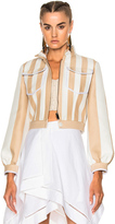 Fendi Cropped Zip Jacket in Neutrals,Stripes,White.