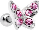 """Body Candy Steel Pink Accent Butterfly Tragus Cartilage Earring 16 Gauge 1/4"""""""