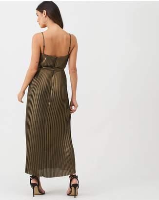 Warehouse Pleated Foil Midi Dress - Gold