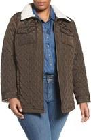 Lucky Brand Plus Size Women's Faux Shearling Trim Zip Front Jacket
