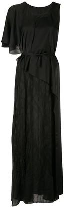 Masnada asymmetric lace panel dress