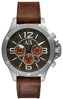 Armani Exchange AX1518 Stainless Steel Brown Leather Strap Chronograph
