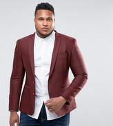 Asos PLUS Slim Texture Blazer In Burgundy Wool Mix