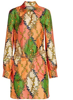 Gucci GG Rhombus Printed Silk Shirtdress