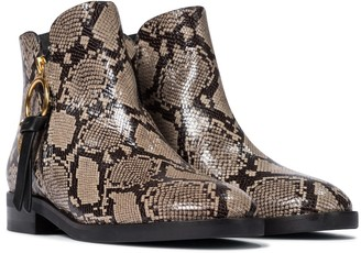 See by Chloe Louise snake-effect leather ankle boots