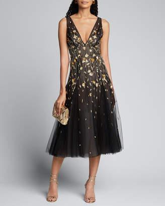 J. Mendel Golden Flower Embroidered Tulle Dress