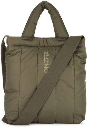 Kenzo Kenzomania army green quilted nylon tote