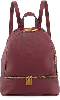 Neiman Marcus Dual-Zip Faux-Leather Backpack Bag