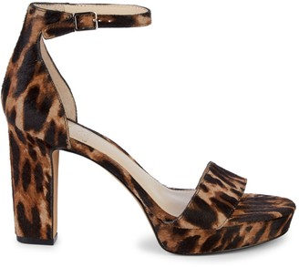Vince Camuto Leopard-Print Calf Hair Heeled Sandals