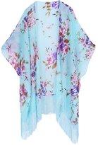 Soul Young Women's Floral Aztec Leopard Light Chiffon Beachwear Cover-ups Kimono