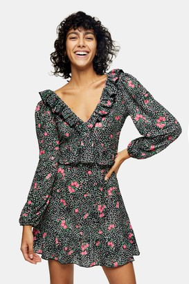Topshop Womens Floral Double Jersey Frill Mini Tea Dress - Multi